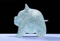 Piggy het varken is volledig van diamanten Stock Foto's