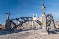 Beken Bruecke, Bekenbrug met standbeelden in Hamburg royalty-vrije stock afbeelding