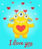 Bekentenis van liefde Een minnaar` s wens Beeldverhaal Sunny Yellow Monster In Love Ben slechts mijn De Valentijnskaartenvector v Stock Fotografie