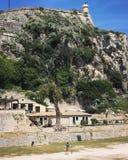 Bekijkende de Stads Oude Vesting van Korfu, Griekenland Stock Afbeeldingen
