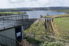 Bekijkende Platform en Dam, Myponga-Reservoir, Myponga, Zuiden Aust Stock Fotografie