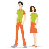 Bekläda modellpoloskjortan, modellmannen och kvinnan vektor illustrationer