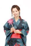 beklär den japanska kimonokvinnan Arkivfoton