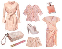 Beklär den rosa kvinnliga kvinnan för modernt mode isolerat arkivfoton