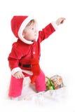 beklär flickan little aktuellt s santa arkivfoto