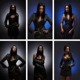 beklär unga collagebildkvinnor arkivbilder