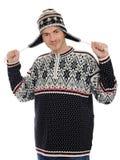 beklär varm vinter för roliga hattmän Arkivbilder