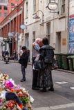 Beklagande till Nino Pangrazio den resterande medägaren av Pellegrinis i Bourke St, Melbourne, Victoria Australia arkivfoton