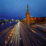 Beklemishevskaya Tower and Moscow Kremlin Embankment at Dusk Royalty Free Stock Images