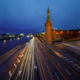 Beklemishevskaya Tower and Moscow Kremlin Embankment at Dusk Royalty Free Stock Images