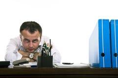 Beklemtoonde & gefrustreerde zakenman stock afbeelding