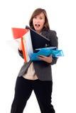 Beklemtoonde bezige bedrijfsvrouwenhaast Stock Afbeeldingen