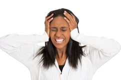 Beklemtoonde droevige midden oude huisvrouw, gefrustreerde vrouw Stock Afbeelding