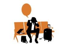Beklemtoonde zakenman die in de luchthaven wachten royalty-vrije illustratie