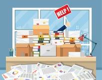 Beklemtoonde zakenman in stapel van bureaudocumenten Stock Afbeeldingen