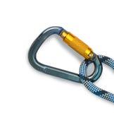 Beklimmend apparatuur - carabiner en kabel Royalty-vrije Stock Foto's