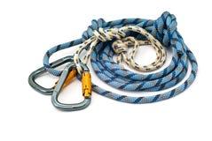 Beklimmend apparatuur - carabiners en kabel Stock Foto's