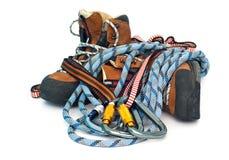 Beklimmend toestel - carabiners, kabels en laarzen Stock Foto's