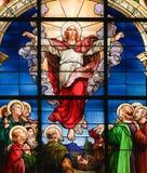 Beklimming van Christus - Gebrandschilderd glas stock afbeelding