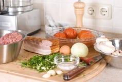 bekonowa składników mięsa pieczarka staczająca się Zdjęcie Stock