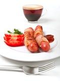 bekonowi kawowi kiełbasa pomidory Obrazy Royalty Free