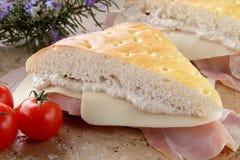 bekonowy serowy końcówka panfocaccia whit Zdjęcie Royalty Free