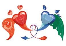Bekoorde harten. Royalty-vrije Stock Afbeeldingen