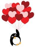 Bekoorde pinguïnvliegen op hartballons Stock Afbeelding