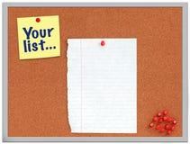Bekorken Sie Brett mit gelber Anmerkung und Weißbuch Lizenzfreies Stockfoto