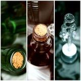 Bekorkte Weinflaschen im Keller stockfotografie