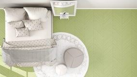 Bekväm modern citrongräsplan och beige sovrum med träparkettgolvet, matta med puffen och säng med filten och kuddar, vektor illustrationer