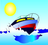 bekväm resamotorboat quick Arkivbilder