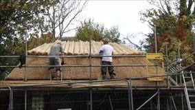 Bekwame dakthatchers die een de theehut met stro bedekken van Kent stock videobeelden