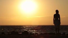 Bekymmerslös kvinna som tycker om härlig solnedgång på stranden arkivfilmer