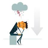 Bekymrad affärsman som tänker om affärsgraf med negativ trend Vektor Illustrationer