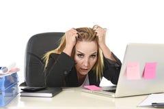 Bekymrad attraktiv affärskvinna i spänningen som arbetar med bärbar dator c Royaltyfri Foto
