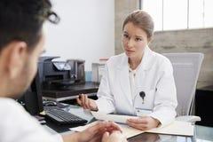 Bekymrad kvinnlig doktor i konsultation med den manliga patienten royaltyfri fotografi