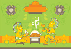 Bekymrad Mayan stildesignsats Arkivbilder