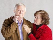Bekymrade åldringpar Fotografering för Bildbyråer