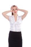 Bekymrat huvud för affärskvinnaholding royaltyfri bild