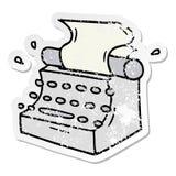 bekymrat klisterm?rketecknad filmklotter av skrivmaskinen f?r gammal skola vektor illustrationer