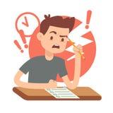Bekymrat tonårig student för rubbning på examen Utbildnings- och studievektorbegrepp vektor illustrationer