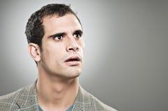 Bekymrat uttryck Portrtait för Caucasian man royaltyfri foto