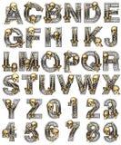 Belägga med metall alfabetet med skelett stock illustrationer