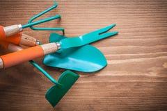 Belägga med metall att arbeta i trädgården hackan som rensar stämjärnmursleven och, kratta jordbruk c Fotografering för Bildbyråer