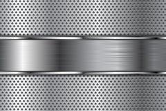 Belägga med metall bakgrund med perforering och den borstade kromplattan royaltyfri illustrationer