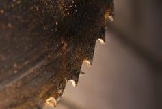 Belägga med metall cirkelsågbladet. Abctract foto. arbete bearbetar Arkivfoto
