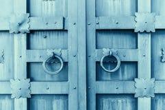Belägga med metall den grå färger åldrades texturerade dörren med cirkeldörrhandtag och metalldetaljer i formen av stiliserade bl Royaltyfri Bild
