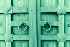 Belägga med metall den grön tappning texturerade dörren med cirkeldörrhandtag och metalldetaljer i formen av stiliserade blommor Arkivfoto