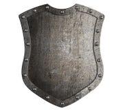 Belägga med metall den högväxta skölden för den medeltida skölden eller vapenskölden isolerade illustrationen 3d stock illustrationer